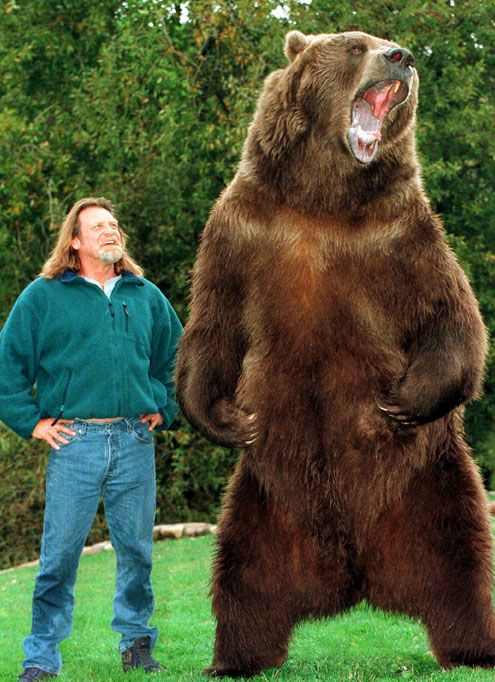 Trainer Doug Seus and Bart the Bear.